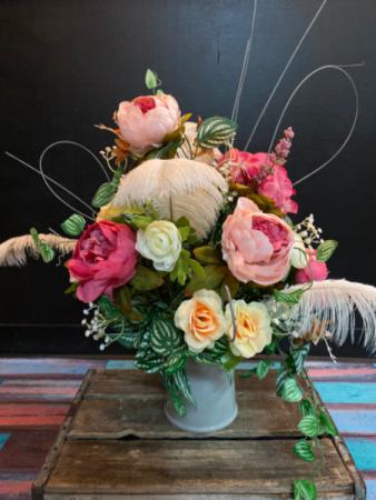 Peach & Pink Feather Forever Flowers Arrangement  Silk table arrangement in ceramic pitcher