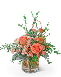 Peach Prosecco Flower Arrangement