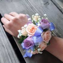 #6 Peach Purple Corsage  Prom Corsage