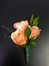 Peach Rose Boutonniere