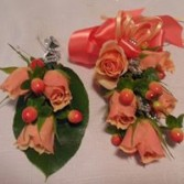 PEACH ROSE CORSAGE AND BOUTONNIERE PROM CORSAGE