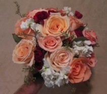 PEACH ROSES, BURGUNDY MINI CARNATIONS, WHITE STOCK WEDDING BOUQUET