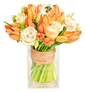 PEACH ROSES & TULIPS ARRANGEMENT