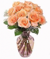 Tiffany Peach Roses Vased Arrangement