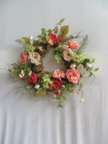 Peach Silk Wreath 11 Silk Wreath