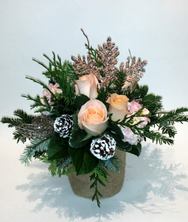 Peach Snowflake Ornamental Christmas Arrangement
