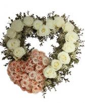 Peach White Heart Heart Funeral