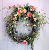 Peach & White Spring Wreath Powell Florist Exclusive