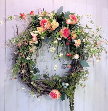 Peach & White Spring Wreath Powell Florist Exclusive