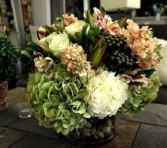 Peach and Cream Low Arrangement