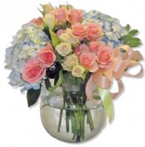 Peaches and Blue Cut Flowers