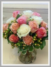 Peaches and Cream Vase Arrangement