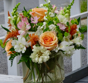Peaches N' Cream Cube Vase Arrangement in Montgomery, NY | MONTGOMERY FLORIST