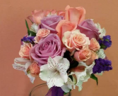 Peachy, lilac & White Handtied Bouquet