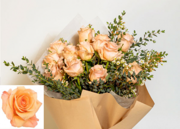 Peachy Orangy Twilight Roses in paper Roses, Wrapped, Vase Ready
