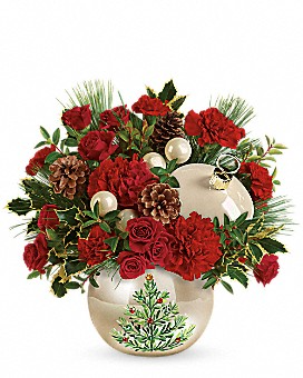 Peal and Jewels Christmas ornament centerpiece in Claremont, NH | FLORAL DESIGNS BY LINDA PERRON