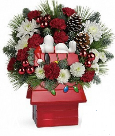 Peanuts Xmas cookie jar  Flower Arrangement