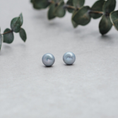 Pearl Studs. Light Grey Glee Jewerly