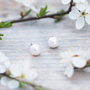 Pearl Studs - white  Glee Jewerly
