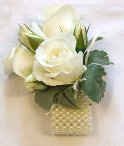 Pearl Wristlet with Roses Corsage