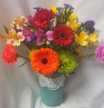 """Pearls and Lace"" Mason Jar Bouquet Mixed seasonal bright flowers arranged. (Color of mason jar may vary)"
