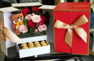 Peek A Boo Grad Box  Rose's and Chocolate Box