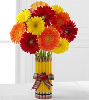Pencil Gerbera Daisy Bouquet Floral Arrangement in Santa Paula, CA | Texis Flower Shop
