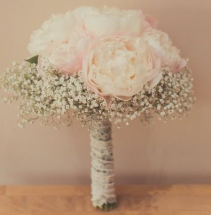 Peonies and Baby's breath Bridal bouquet
