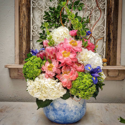 Peonies and Hydrangea Custom Vase