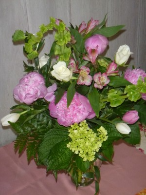 Peonies and Spring vase arrangement