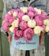 Peonies bouquet into a box (box color & sharp may varies)