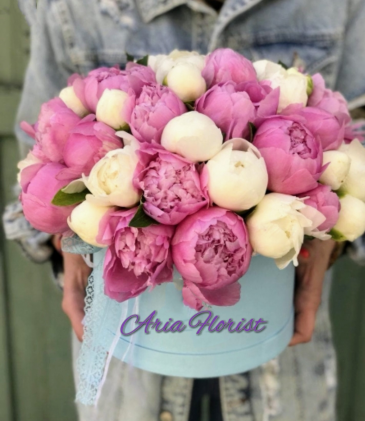 Peonies bouquet into a box **LIMITED TIME OFFER****FREE BOX OF CHOCOLATE**