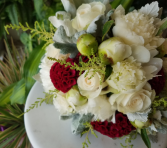 Peonies, Cox Comb, Astilbe and Lambs Ear Bridal Bouquet