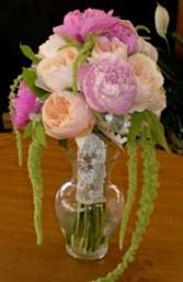 Peonies, Garden Roses & Amaranthus Hand Tied Bouquet