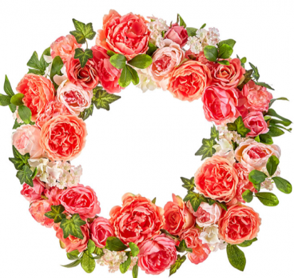 French Peonies & Garden Roses Permanent Wreath