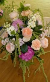 Peonies, Garden Roses, Stock & Amaranthus Hand Tied Bouquet
