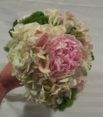 PEONIES, HYDRANGEA, SPRAY ROSES, GREEN TRICK WEDDING BOUQUET
