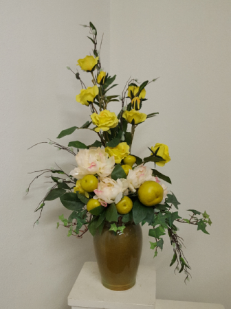 Peonies roses and pears Silk flower arrangement