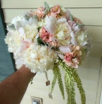 PEONIES, STOCK, LAMBS EAR WEDDING BOUQUET