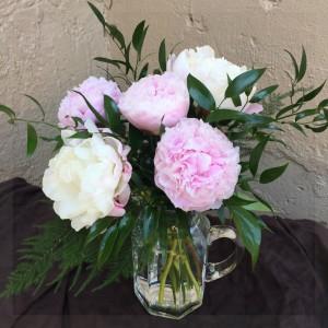 peoniesthose are her favorite fresh cut vased arrangement