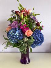Peonies with Blue Hydrangea