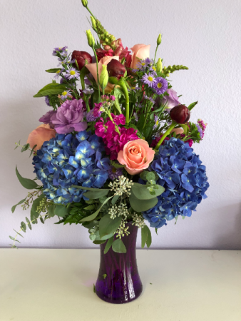 Peonies with Blue Hydrangea