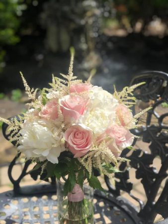 Peony and blush roses with accents of Astilbe Hand tied bouquet