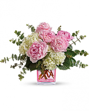 Peony and hydregia vase   in Ozone Park, NY   Heavenly Florist