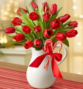Peppermint Pitcher of Tulips™ - Red Arrangement