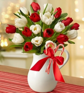Peppermint Pitcher of Tulips™ - Red & White Arrangement