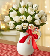 Peppermint Pitcher of Tulips™ - White Arrangement