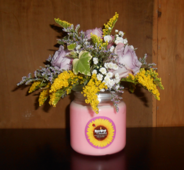 Perfect Gift Candle with Flowers