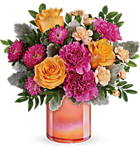 Teleflora's Perfect Spring Peach Fresh Flowers in Keepsake Container
