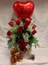 "Perfect ""You are Loved"" Package Roses, Balloon, Bear, and Chocolates"